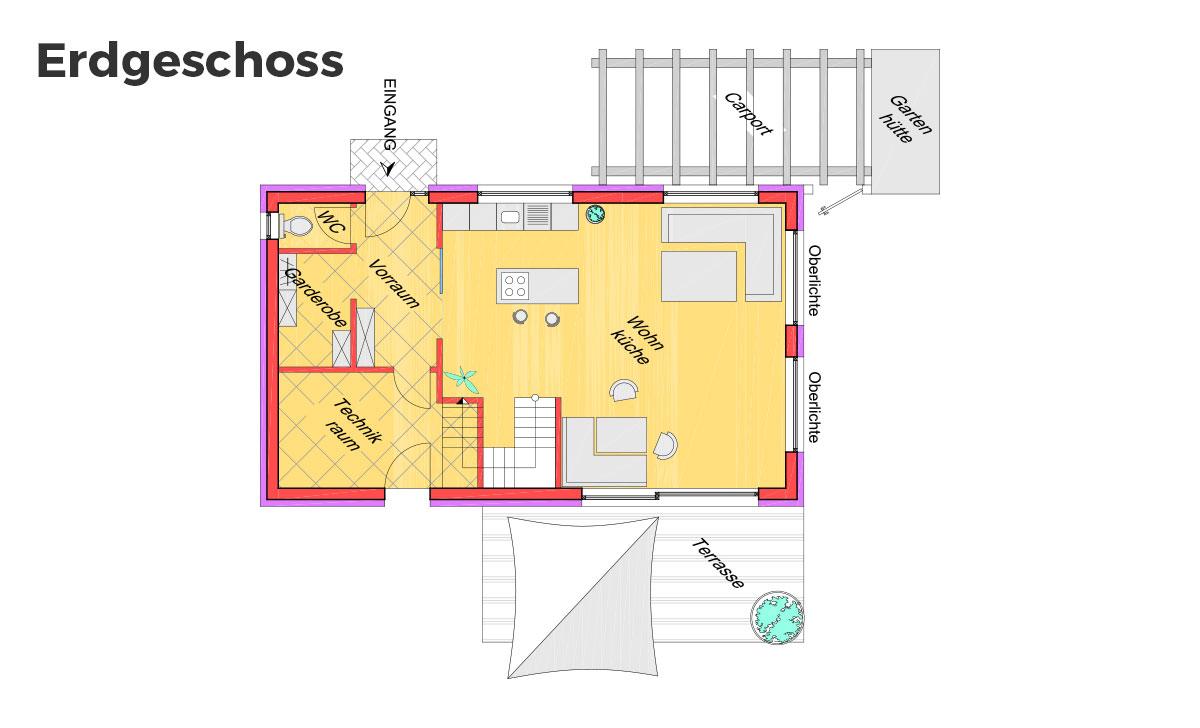Lean to Roof Grundriss Erdgeschoss