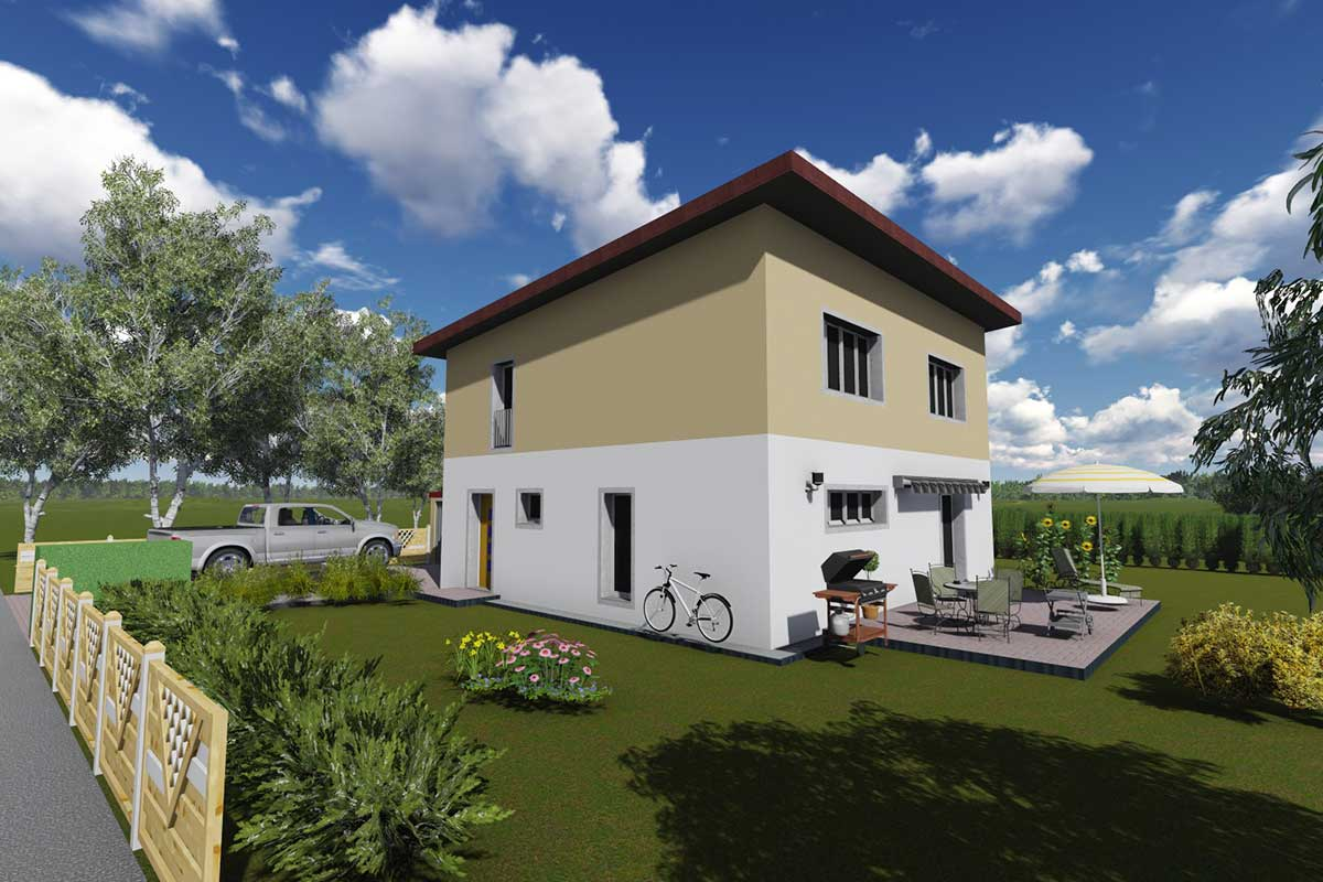 Einfamilienhaus Kompakt 135 mit Pultdach, verschiedene Grundrissgrößen und Dachformen möglich