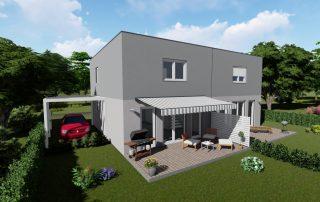 Doppelhaus Twin 105 mit Flachdach als Selbstbauhaus, mit Magu Bausystem zum selber bauen