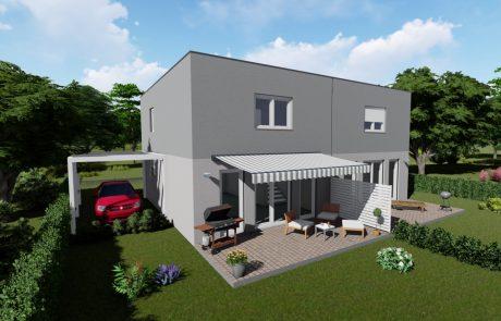 Selbstbauhaus Twin 105 - 3D Ansicht mit Flachdach