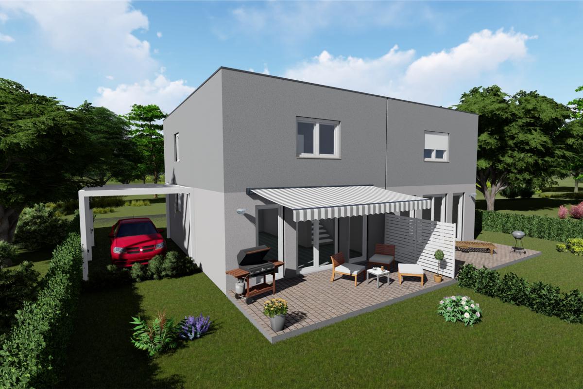 Doppelhaus Twin 105 Flachdach mit verschiedenen Grundrissvarianten und Dachformen