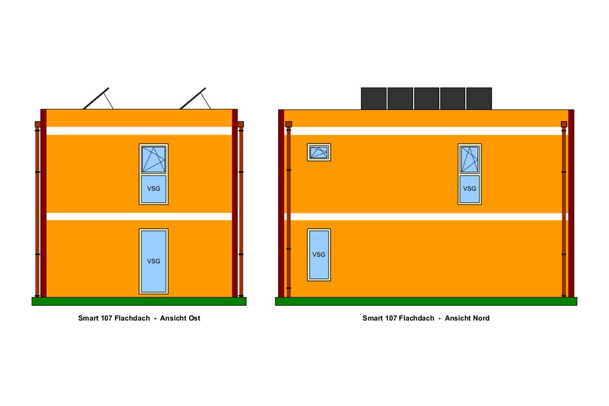 Ost-, Nord-Ansicht, Selbstbauhaus Smart 107 mit Flachdach