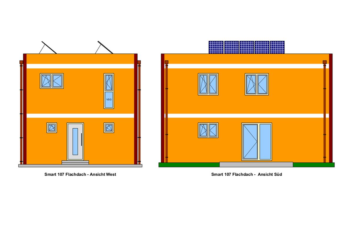 West-, Süd-Ansicht, Selbstbauhaus Smart 107 mit Flachdach