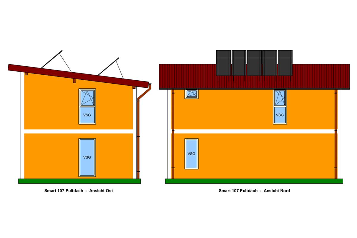 Ost- und Nord-Ansicht, Selbstbauhaus Smart 107 mit Pultdach