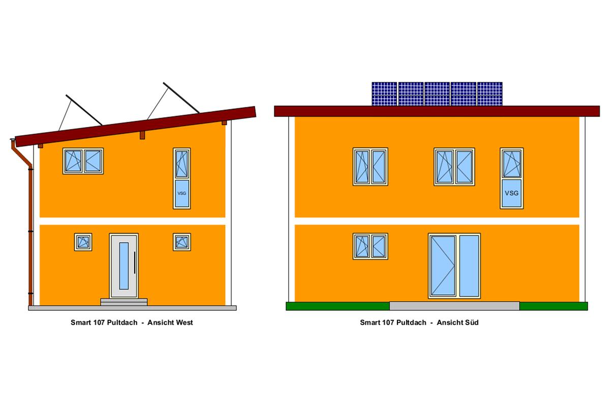 West-und Süd-Ansicht, Selbstbauhaus Smart 107 mit Pultdach