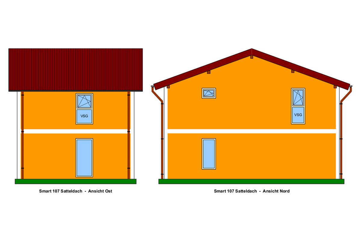 Selbstbauhaus Smart 107 mit Satteldach, Ost-und Nord-Ansicht