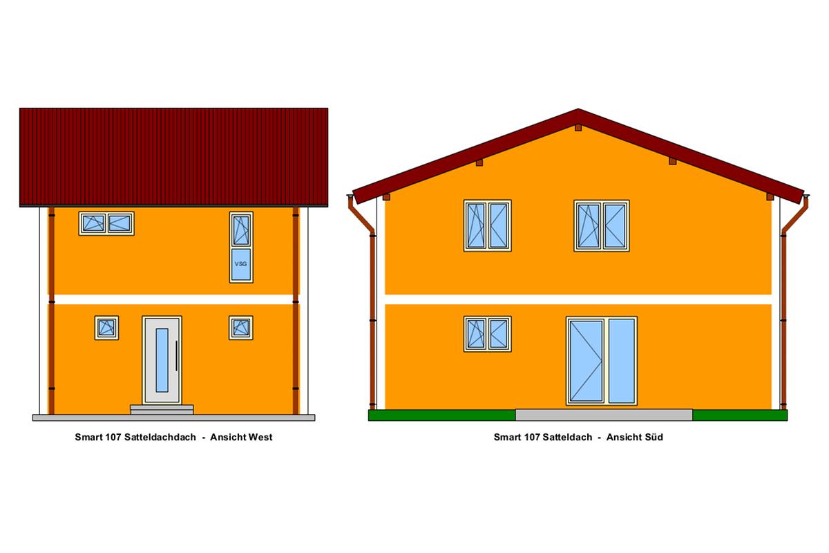 Selbstbauhaus Smart 107 mit Satteldach, West-und Süd-Ansicht