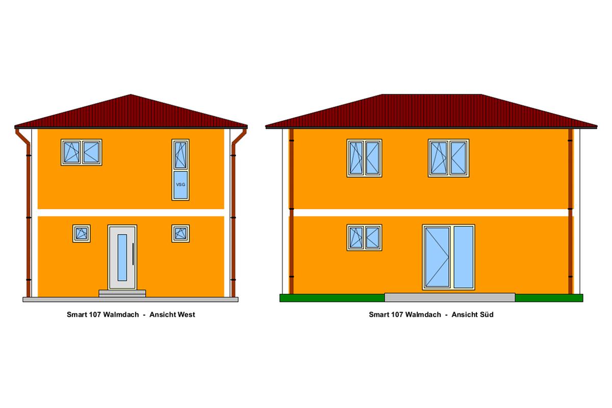 Ansicht Walmdach - Selbstbauhaus Smart 107, von West-und Süd