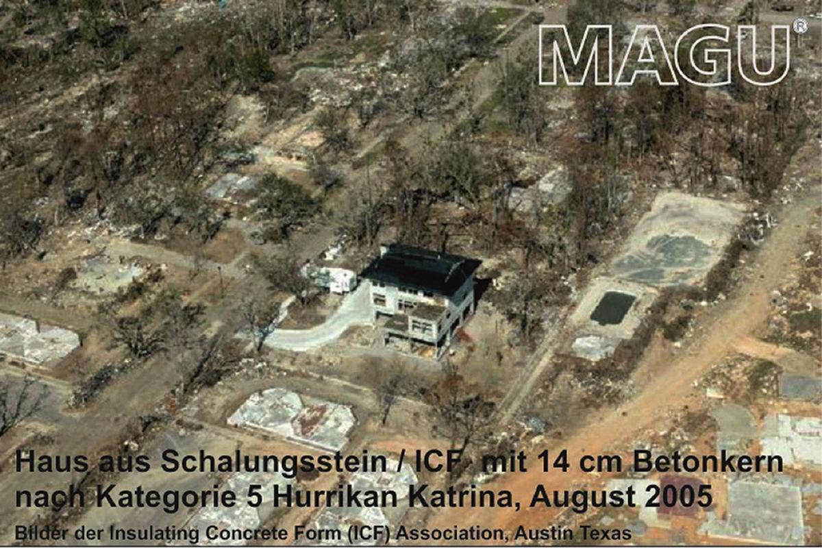 Haus Hurrikan überstanden mit Magu-Bausystem