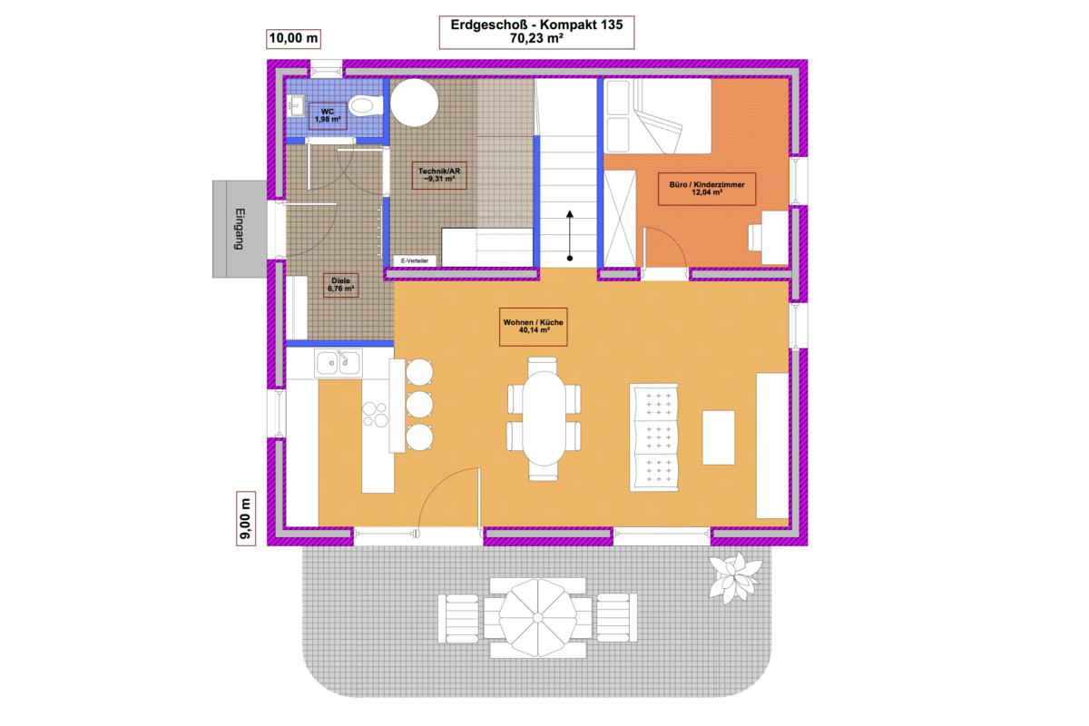 Grundriss Erdgeschoß Musterhaus Kompakt 135 - Massivbau mit Magu-Bausystem