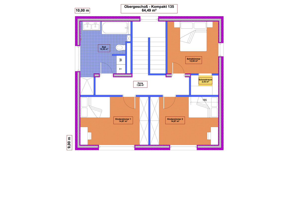 Grundriss Obergeschoß Musterhaus Kompakt 135 - Massivbau mit Magu-Bausystem
