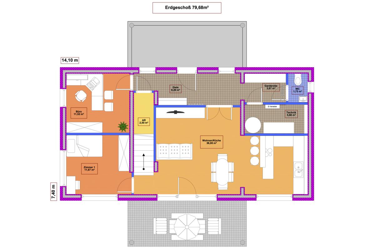 Musterhaus Modern 142 Erdgeschoß - Massivbau mit Magu-Bausystem