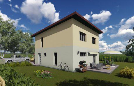 Ansicht, Selbstbauhaus Kompakt 135 mit Pultdach