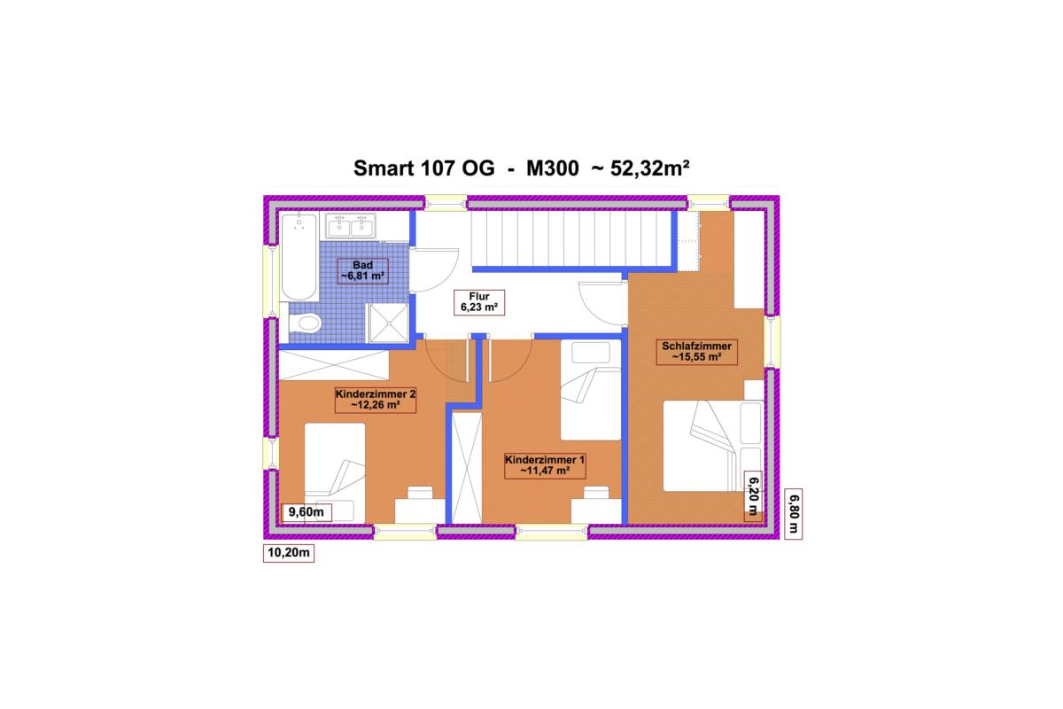 Selbstbauhaus Smart 107 - Grundriss Obergeschoß