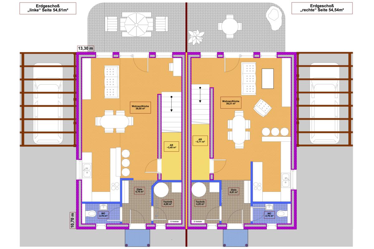Selbstbauhaus Twin 105 - Grundriss Erdgeschoß - als Niedrigenergiehaus oder Passivhaus erhältlich