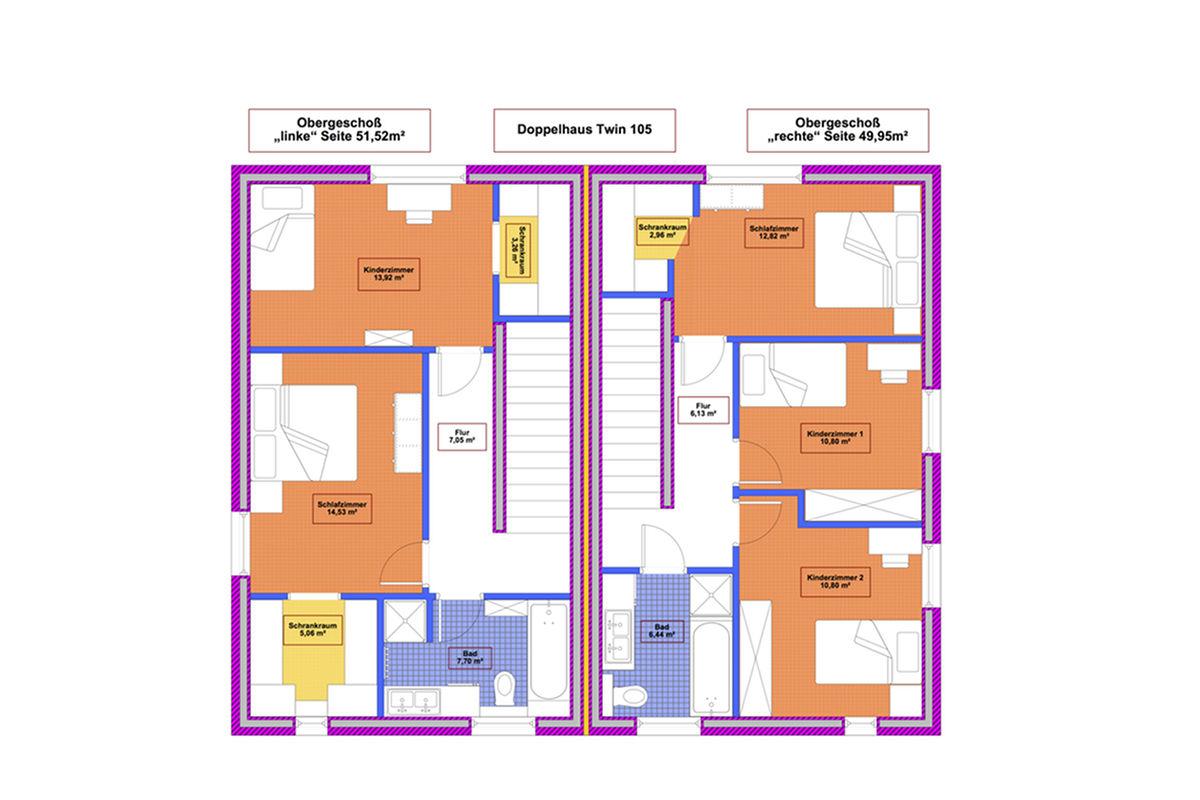 Selbstbauhaus Twin 105- Grundriss Obergeschoß - als Niedrigenergiehaus oder Passivhaus erhältlich